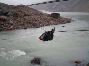 Passing the river at the cerro torre... Safety gear ? For what ?